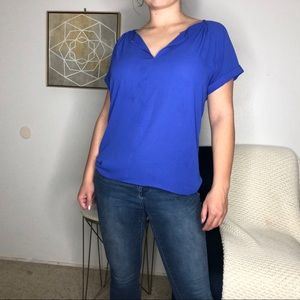 Blue Blouse with Convertible Neck Line